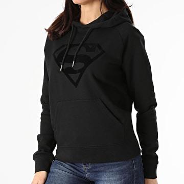 DC Comics - Sweat Capuche Femme Logo Noir Noir