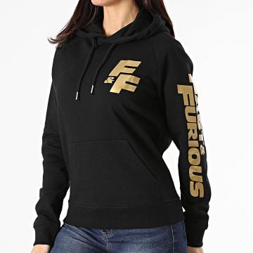 Fast & Furious - Sweat Capuche Femme FF Coeur Noir Doré