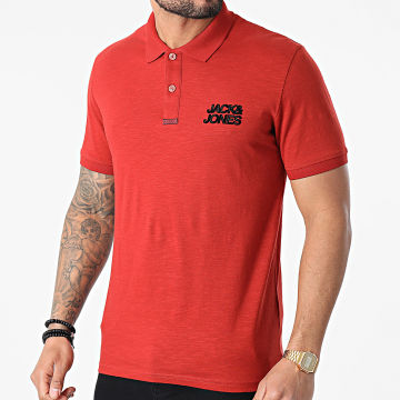 Jack And Jones - Polo Manches Courtes Berg Rouille Chiné