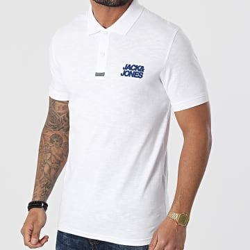 Jack And Jones - Polo Manches Courtes Berg Blanc Chiné