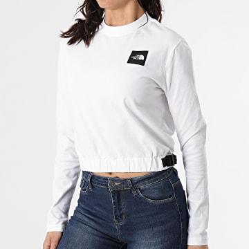 The North Face - Tee Shirt Crop Femme Manches Longues Black Box A557S Blanc
