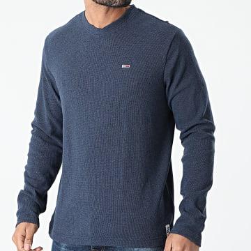 Tommy Jeans - Tee Shirt Manches Longues Mini Waffle Jaspe 0287 Bleu Marine Chiné