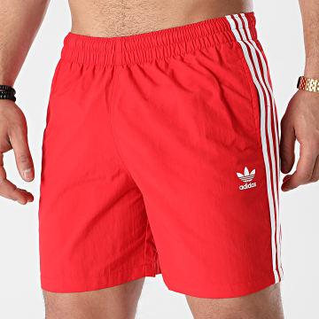Adidas Originals - Short De Bain A Bandes GN3526 Rouge