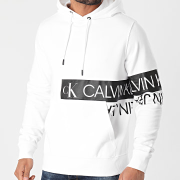 Calvin Klein - Sweat Capuche Mirrored Logo 7052 Blanc
