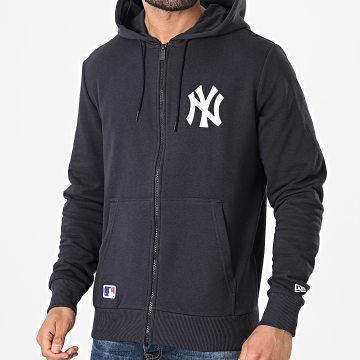 New Era - Sweat Zippé Capuche Logo New York Yankees 12740956 Bleu Marine