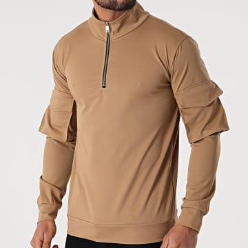 Uniplay - Sweat Col Zippé T757 Camel