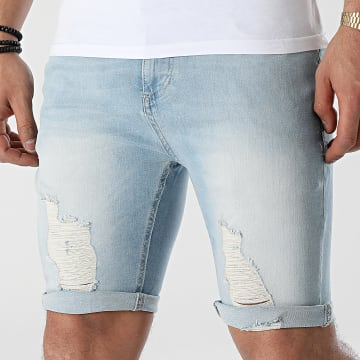 SikSilk - Short Jean Slim Distressed Denim 18089 Bleu Wash