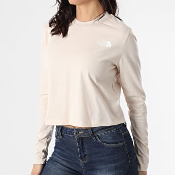 The North Face - Tee Shirt Manches Longues Crop Femme A5581 Beige