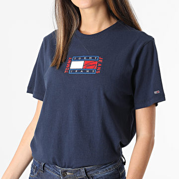 Tommy Jeans - Tee Shirt Femme Relaxed Timeless Flag 9924 Bleu Marine