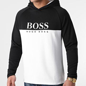 BOSS - Tee Shirt Manches Longues A Capuche Jacquard 50451561 Noir Blanc