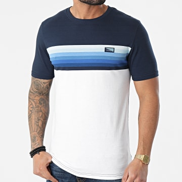 Jack And Jones - Tee Shirt Mirku Bleu Marine Blanc