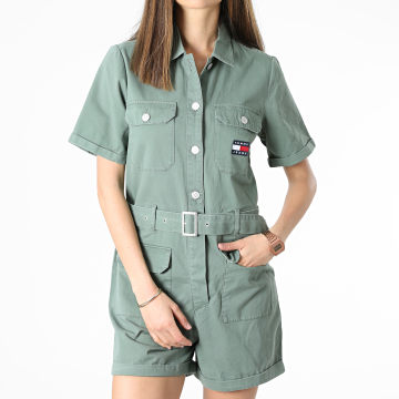 Tommy Jeans - Combinaison Short Femme Boilersuit 9837 Vert Kaki