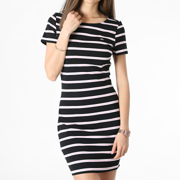 Tommy Jeans - Robe A Rayures Femme Striped Bodycon 0206 Noir