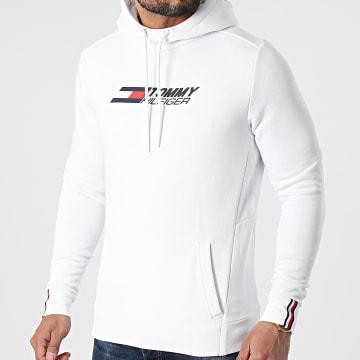 Tommy Sport - Sweat Capuche Logo Fleece 7255 Blanc