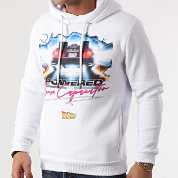 Back To The Future - Sweat Capuche Powered Blanc