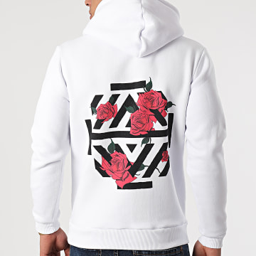 Luxury Lovers - Sweat Capuche Roses Jap Back Blanc