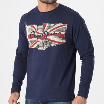 Pepe Jeans - Tee Shirt Manches Longues Flag Logo Bleu Marine