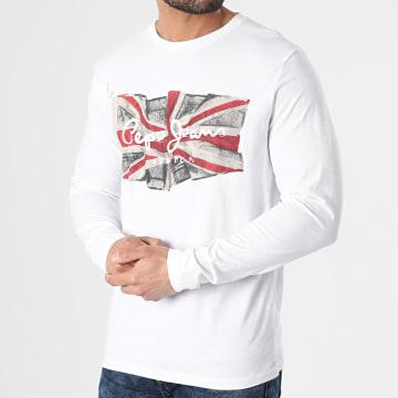 Pepe Jeans - Tee Shirt Manches Longues Flag Logo PM501326 Blanc
