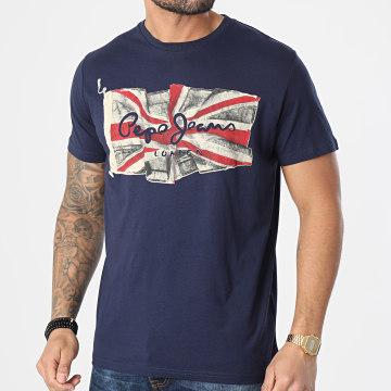 Pepe Jeans - Tee Shirt Flag Logo PM505671 Bleu Marine
