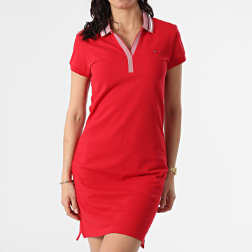 Tommy Hilfiger - Robe Polo Femme Tipping Slim 0502 Rouge