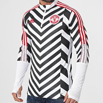 Adidas Performance - Sweat Col Zippé A Bandes Manchester United AOP GK9413 Blanc Noir