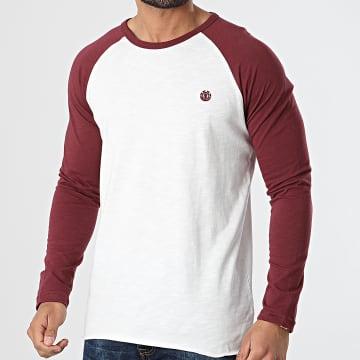 Element - Tee Shirt Manches Longues Blunt Blanc Bordeaux Chiné
