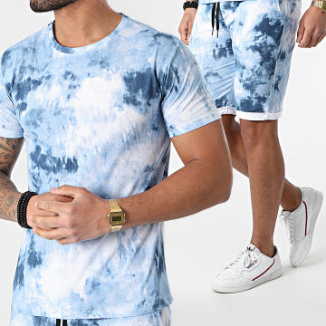 MTX - Ensemble Short Tee Shirt TM0396 Bleu Clair Chiné