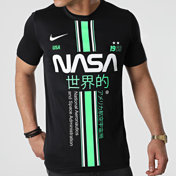 NASA - Tee Shirt Stripe Noir Vert Custom