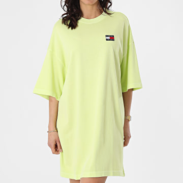 Tommy Jeans - Robe Tee Shirt Femme Oversized Badge 9916 Vert Anis