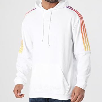 Adidas Originals - Sweat Capuche A Bandes Sport GN2425 Blanc