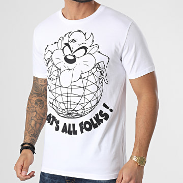 Looney Tunes - Tee Shirt Taz Globe Blanc