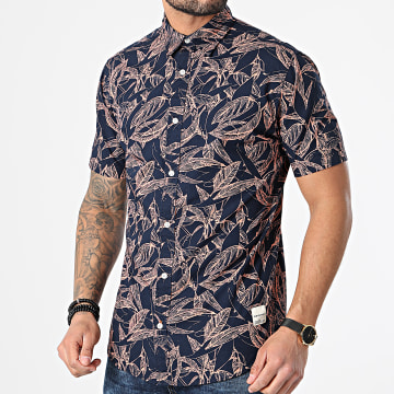Jack And Jones - Chemise Manches Courtes Floral Charlie Bleu Marine Orange