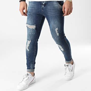 SikSilk - Jean Skinny Distressed Riot Wash 17580 Bleu Denim