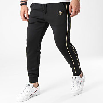 SikSilk - Pantalon Jogging A Bandes Astro Cuffed Track 17919 Noir Doré