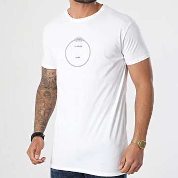 SikSilk - Tee Shirt Straight Hem Chain Print Box Blanc