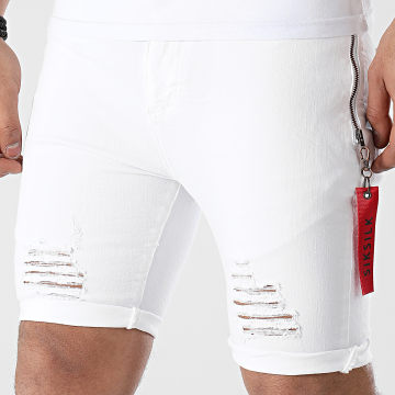 SikSilk - Short Jean Slim Distressed Denim Flight 18236 Blanc