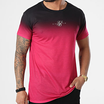 SikSilk - Tee Shirt Dégradé High Fade Bordeaux Noir