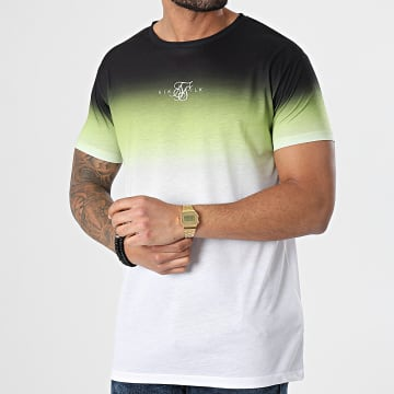 SikSilk - Tee Shirt Dégradé High Fade Noir Vert Blanc