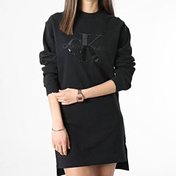 Calvin Klein - Robe Sweat Crewneck Femme Tonal Monogram 6343 Noir