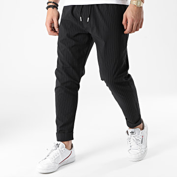 KZR - Pantalon A Rayures CH22-044 Noir