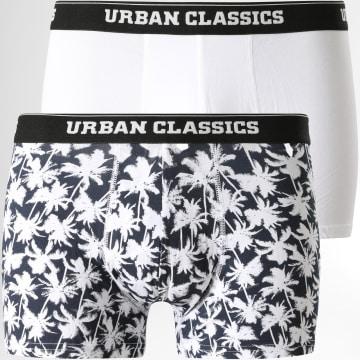 Urban Classics - Lot De 2 Boxers TB1277 Blanc Bleu Marine Palmiers