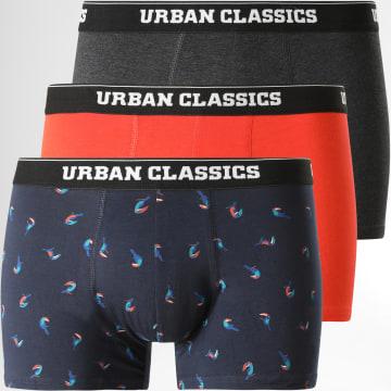 Urban Classics - Lot De 3 Boxers TB3979 Orange Noir Gris Anthracite Chiné