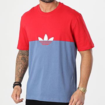 Adidas Originals - Tee Shirt Slice Trefoil Box GN3503 Rouge Bleu