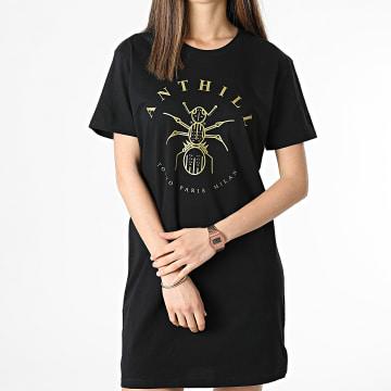 Anthill - Tee Shirt Robe Femme Logo Noir Doré