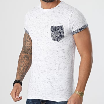 Deeluxe - Tee Shirt Poche Floral Shamar Blanc Chiné Bleu Marine