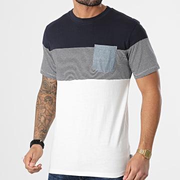 Jack And Jones - Tee Shirt Poche Contrast Blanc Bleu Marine