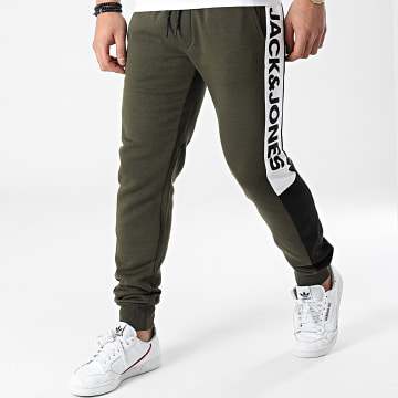 Jack And Jones - Pantalon Jogging A Bandes Will Logo Blocking Vert Kaki