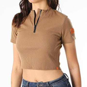Project X - Tee Shirt Crop Femme F201058 Marron