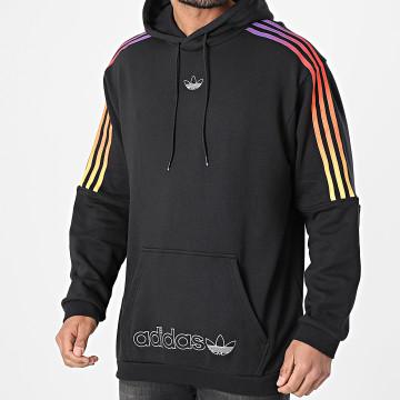 Adidas Originals - Sweat Capuche A Bandes Sport GN2424 Noir