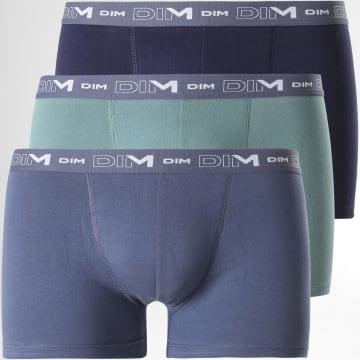 Dim - Lot De 3 Boxers Coton Stretch D6596 Bleu Vert